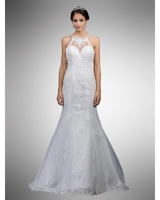 Dancing Queen Bridal - 15 Bedazzled Lace Illusion Halter Mermaid Gown
