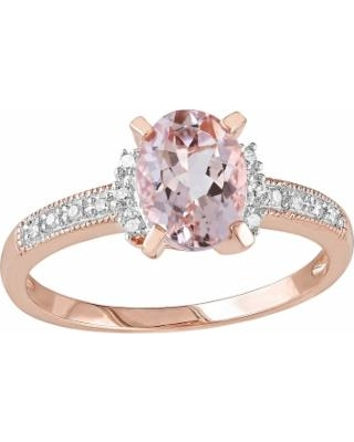 14k Rose Gold Over Sterling Silver 1/7-ct. T.W. Diamond and Morganite Ring, Women's, Size: 7, Pink
