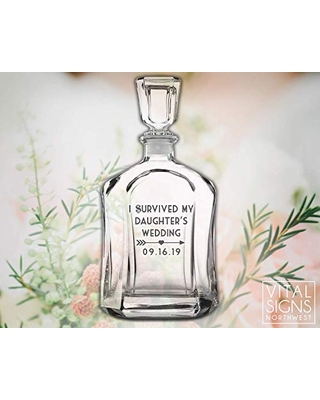 Father of the Bride Gift, I survived My daughter's Wedding, Wedding favor, Father of the bride, Mother of the bride, Whiskey Decanter, Beer glass