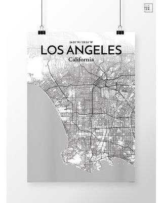 """OurPoster.com 'Los Angeles City Map' Graphic Art Print Poster in Tones OP-LAX Size: 27.6"""" H x 19.7"""" W"""