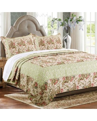 Greenland Home Fashions Voltaire 3 Piece Twin Reversible Quilt Set GL-1603ZT