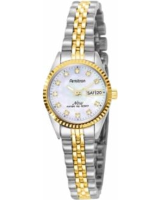 Armitron NOW Crystal Two Tone Watch - 75/2475MOP, Women's, Size: 2XL, multicolor