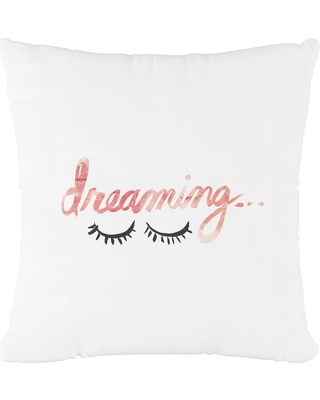 White Dreaming Throw Pillow - Cloth & Co, Dreaming Pink