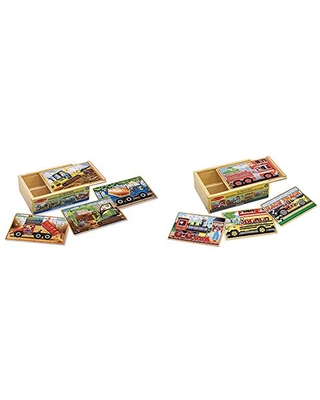 Melissa & Doug Wooden Jigsaw Puzzles in a Box - Construction & Vehicles 4-in-1 Wooden Jigsaw Puzzles