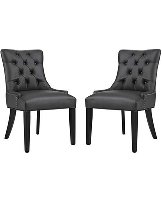 Regent Collection EEI-2742-BLK-SET Set of 2 Dining Chairs with Black Rubberwood Tapered Legs Nailhead Trim Non-Marking Foot Caps Solid Wood Frame