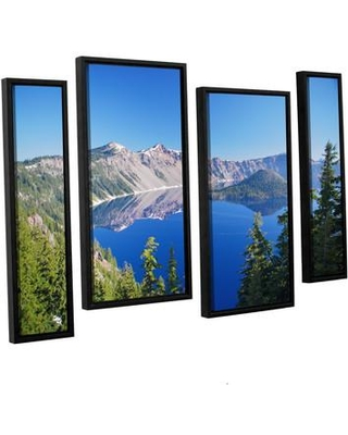 """ArtWall Crater Lake by Dan Wilson 4 Piece Framed Photographic Print on Canvas Set 0wil006i2436f / 0wil006i3654f Size: 36"""" H x 54"""" W x 2"""" D"""
