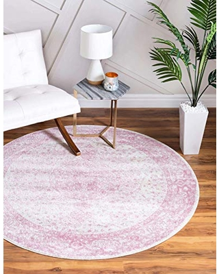 Unique Loom Bromley Collection Vintage Traditional Medallion Border Pink Round Rug (5' 0 x 5' 0)