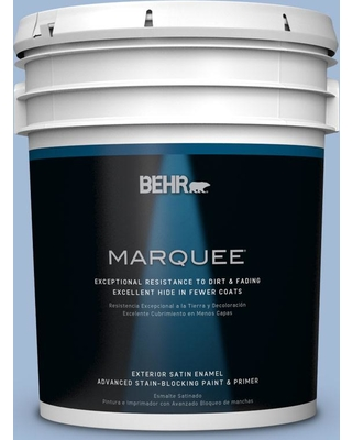 BEHR MARQUEE 5 gal. #M530-3 Perennial Blue Satin Enamel Exterior Paint and Primer in One