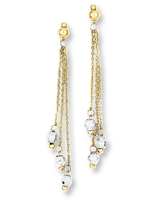 Cable Chain Earrings 14K Two-Tone Gold