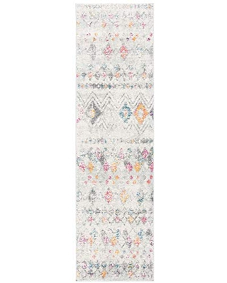 """Safavieh Madison Collection MAD798H Moroccan Boho Distressed Runner, 2' 3"""" x 8', Grey/Gold"""