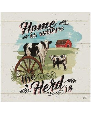"East Urban Home 'Farm Life II on Wood' Graphic Art Print on Wrapped Canvas W000568042 Size: 24"" H x 24"" W x 2"" D"