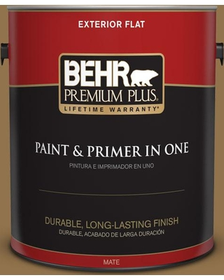 BEHR Premium Plus 1 gal. #N290-7 Marrakech Brown Flat Exterior Paint and Primer in One