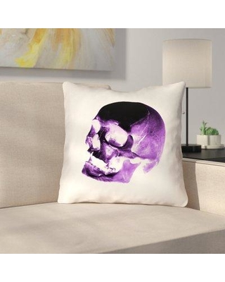 """East Urban Home Square Skull Throw Pillow URBR7157 Size: 18"""" x 18"""" Color: Purple/Black/White"""