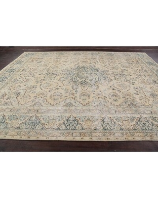 """One-of-a-Kind Hand-Knotted 1960s Tabriz Beige 9'6"""" x 12'4"""" Wool Area Rug Rugsource"""