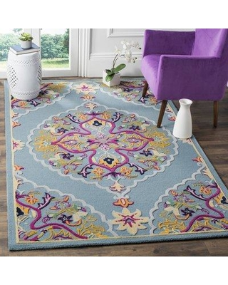 Bungalow Rose Blokzijl Hand-Tufted Wool Light Blue Area Rug BNGL8240 Rug Size: Rectangle 8' x 10'