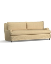 """Carlisle Slipcovered Grand Sofa 90.5"""" with Bench Cushion, Down Blend Wrapped Cushion, Performance Everydaysuede(TM)Oat"""