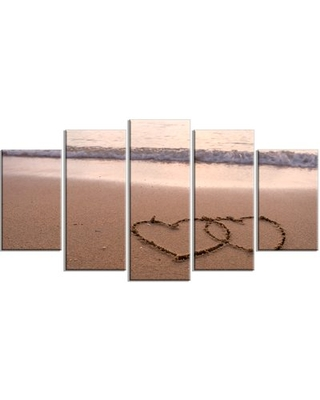 'Two Hearts Drawn on the Beach' 5 Piece Wall Art on Wrapped Canvas Set Design Art