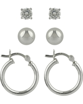 Sterling Cubic Zirconia Silver Ball Studs and Hoop Trio Earring Set - A New Day Silver, Women's, Size: Small, Clear Silver