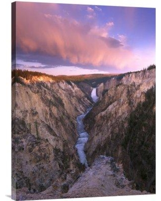East Urban Home Wyoming Yellowstone National Park 'Lower Yellowstone Falls' Photographic Print on Wrapped Canvas NNAI3432