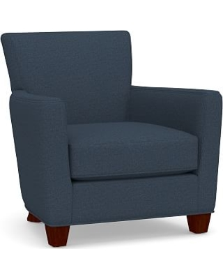 Irving Square Arm Upholstered Armchair without Nailheads, Polyester Wrapped Cushions, Brushed Crossweave Navy