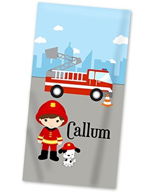 Fire Truck Beach Towel - Big City Fire Engine Boy Lightweight Pool Towel Personalized Name Gift