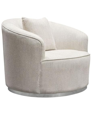 Raven Collection RAVENCHCM Chair with Fabric Upholstery Brushed Silver Accent Trim and Curved Design in Light