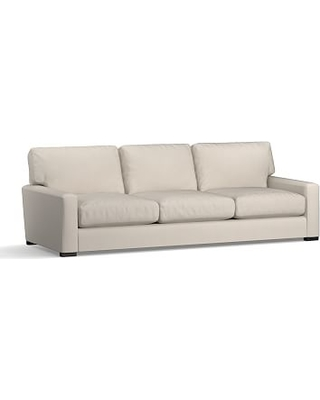 """Turner Square Arm Upholstered Grand Sofa 102"""" without Nailheads, Down Blend Wrapped Cushions, Performance Everydaysuede(TM) Stone"""