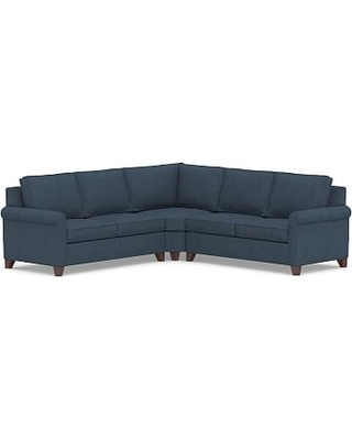 Cameron Roll Arm Upholstered 3-Piece L-Shaped Wedge Sectional, Polyester Wrapped Cushions, Performance Heathered Tweed Indigo