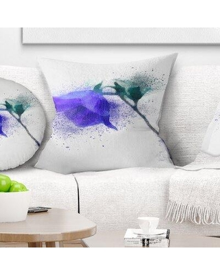 "East Urban Home Floral Flower Stem with Color Splashes Pillow FUSI4017 Size: 18"" x 18"" Product Type: Throw Pillow"