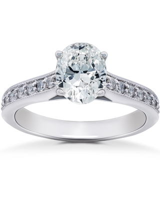 14k White Gold 1 1/3 ct TDW Oval Diamond Vintage Engagement Ring Solitaire Vintage Accent (8.5)