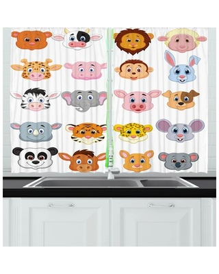 Cartoon 2 Piece Kitchen Curtain East Urban Home