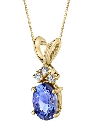 """0.75 ct Oval Shape Tanzanite and Diamond Pendant Necklace in 14K Yellow Gold, 18"""""""