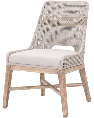 Wicker Natural Gray Tapestry Dining Chair Set of 2