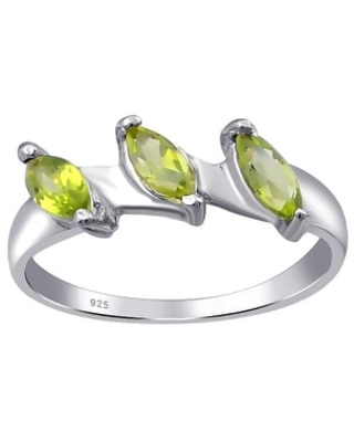 Peridot, Cubic Zirconia, Garnet Sterling Silver Marquise 3-Stone Ring by Orchid Jewelry (7 - Peridot)