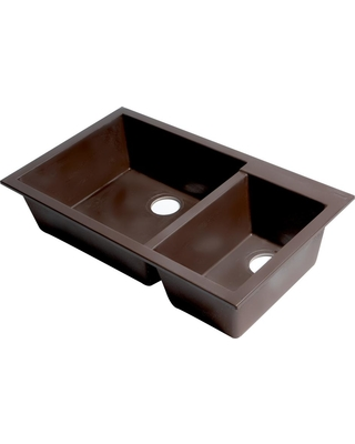 ALFI BRAND Undermount Granite Composite 33.88 in. 35/65 Double Bowl Kitchen Sink in Chocolate, Brown