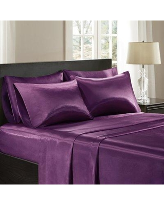 The Twillery Co. Cleary Satin 227 Thread Count 6 Piece Sheet Set W000287246 Size: Full Color: Purple