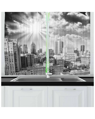 2 Piece Aerial View Montreal Canada Cityscape with Skyscrapers Architecture Kitchen Curtain East Urban Home