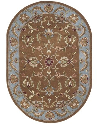 """Taylor Hand-Tufted Wool Brown/Blue Area Rug Astoria Grand Rug Size: Oval 4'6"""" x 6'6"""""""