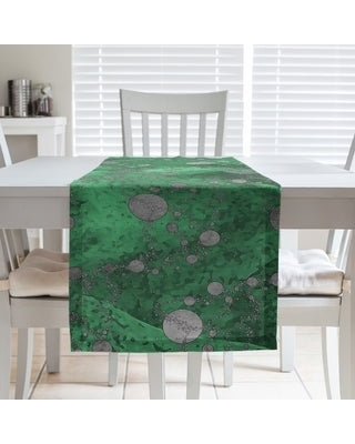 Monochrome Planets & Stars Table Runner (16 x 72 - Polyester - Green)