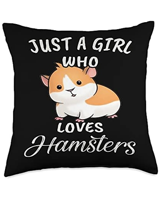 TeePrincess Cute Art Watercolor Just A Girl Who Loves Hamsters Throw Pillow, 18x18, Multicolor