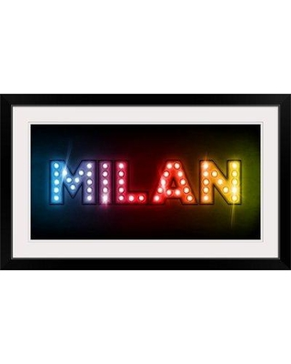 """Great Big Canvas 'Milan in Lights' by Michael Tompsett Textual Art 1018819_1_ Size: 23"""" H x 38"""" W x 1"""" D Format: Black Framed"""