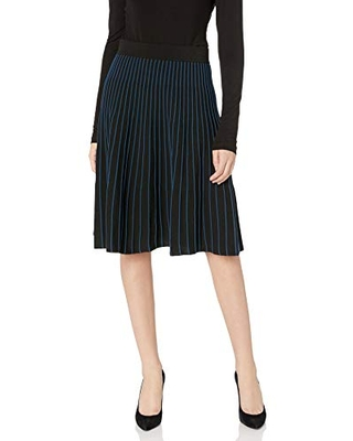 Anne Klein Women's Knit FIT and Flare Skirt, Anne Black/Spruce, M