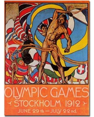 """Trademark Art """"Olympic Games"""" by Olle Hjortzberg Framed Vintage Advertisement on Wrapped Canvas V6082-C Size: 47"""" H x 35"""" W x 2"""" D"""