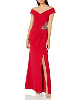 Alex Evenings Women's Long Crepe Off The Shoulder Fit and Flare Dress, Apple Red, 12