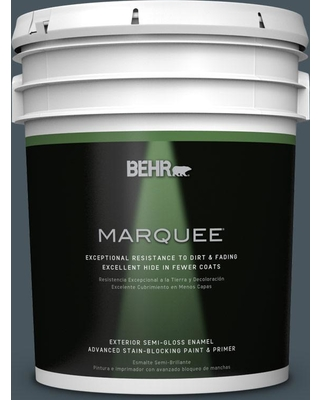 BEHR MARQUEE 5 gal. #BNC-40 Moody Black Semi-Gloss Enamel Exterior Paint and Primer in One