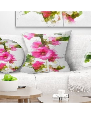 """Floral Flower with Stem and Leaves Pillow East Urban Home Size: 16"""" x 16"""", Product Type: Throw Pillow"""