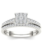 De Couer 10k White Gold 1/2ct TDW Diamond Cluster Engagement Ring Set (Size 8 - Anniversary/Wedding Ring Sets/Engagement - Diamond)
