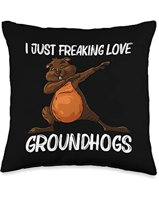 Funny Groundhog Marmot Groundhog Costume Clothes Cool Gift for Men Women Groundhog Day Pet Rodent Throw Pillow, 16x16, Multicolor