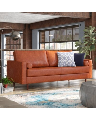 "84"" Wide Genuine Leather Square Arm Sofa AllModern Upholstery Color: Caramel Genuine Leather"
