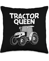 Cool Farm Big Construction Truck Farmer Clothes Funny Tractor Gift For Women Mom Farming Clothes Lover Throw Pillow, 16x16, Multicolor